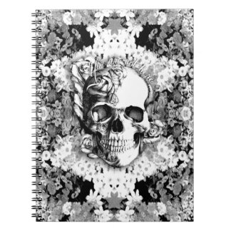 You are not here floral rose skull art in black. note book