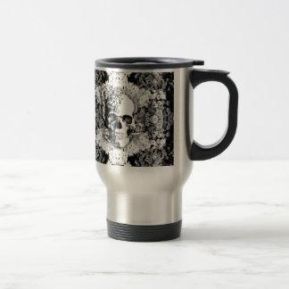 You are not here floral rose skull art in black. travel mug