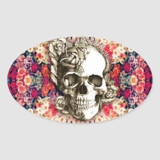 You are not here floral rose skull art. oval sticker