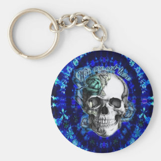 You are not here Rose skull on blue tie dye Keychains