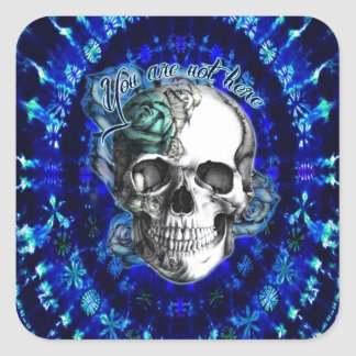 You are not here rose skull on blue tye die. square sticker