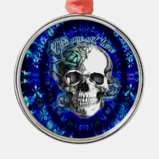 You are not here trippy rose skull in navy/ mint metal ornament