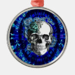 You are not here trippy rose skull in navy/ mint round metal christmas ornament
