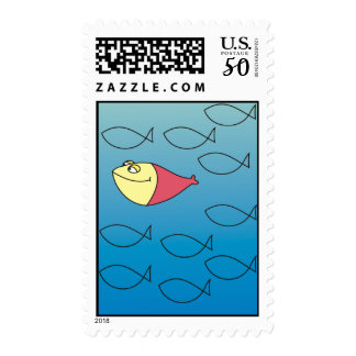 You are ONE in a Million Red Fish Postage Stamp