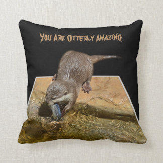 You Are Otterly Amazing, Otter Logo, Cushion. Throw Pillow