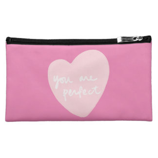You Are Perfect Pink Heart Customizable Color Cosmetic Bag