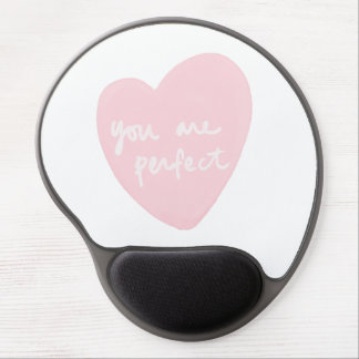 You Are Perfect Watercolor Customizable White Pink Gel Mouse Pad