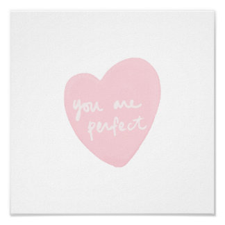 You Are Perfect Watercolor Customizable White Pink Poster