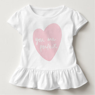 You Are Perfect White And Pink Watercolor Heart Toddler T-shirt