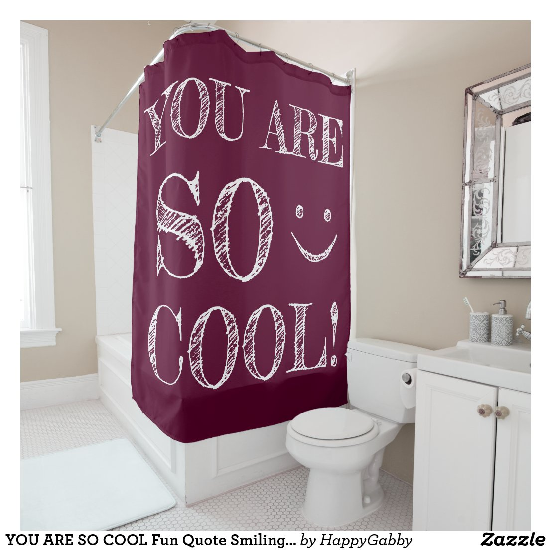Fun Quote Smiling Face Plum Color Shower Curtain