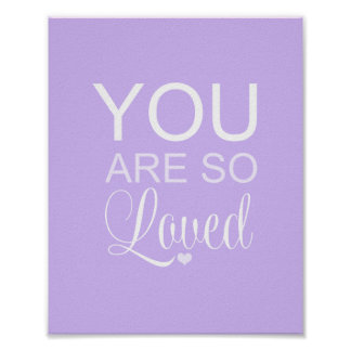 You Are So Loved Purple Nursery Art Decor