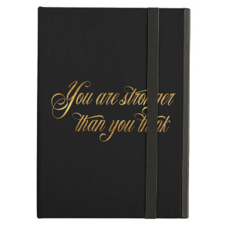 You Are Stronger Quote Gold Faux Foil Quotes Cover For iPad Air