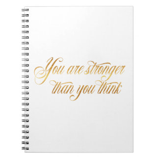 You Are Stronger Quote Gold Faux Foil Quotes Notebook