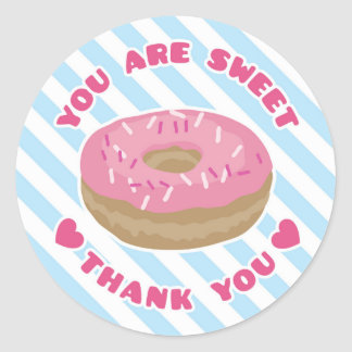 You Are Sweet Pink Donut Thank You Sticker