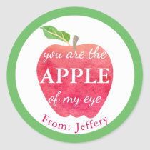You Are The Apple Of My Eye Valentine Personalized Classic Round Sticker