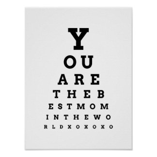You are the Best Mom in the World eye chart Poster