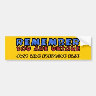 You Are Unique Bumper Sticker
