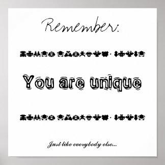 You are unique poster