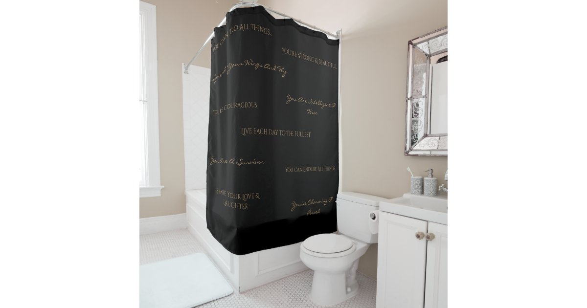 black and tan shower curtain.  You Are Uplifting Shower Curtain Black Tan Zazzle com