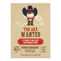 You Are Wanted Cowboy Western Birthday Invitation