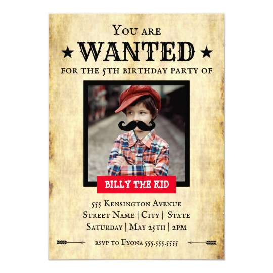 You Are Wanted Western Style Birthday Party Invitation