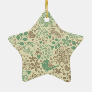 you arvores and flowers with bird Double-Sided star ceramic christmas ornament