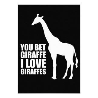 You Bet Giraffe I Love Giraffes Invitations
