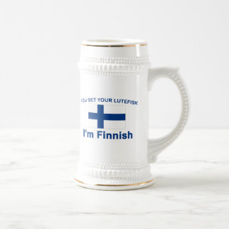 You Bet Your Lutefisk I'm Finnish Beer Stein