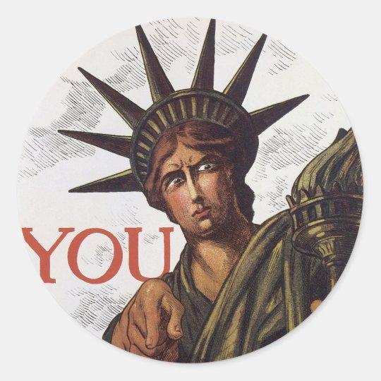 You buy a Liberty Bond Lest I Perish Classic Round Sticker