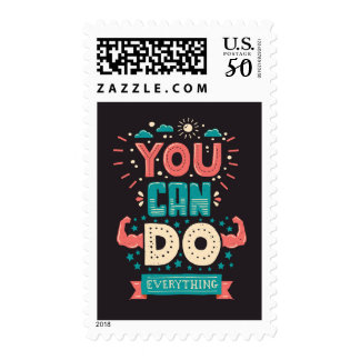 You Can Do Everything Colorful Postage