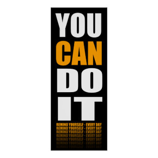 You CAN Do It (orange) Motivational Poster