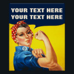 "You can do It Poster<br><div class=""desc"">You Can do It American Propaganda Custom Poster: This custom poster has a design based on the uber cool ""We Can Do It!"" American propaganda poster associated with Rosie the Riveter and the movement of women into the paid industrial workforce during World War II. A feminist icon and a perfect...</div>"