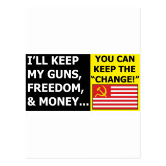 you can keep the change post cards