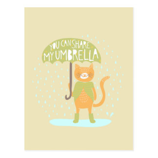 """You can share my umbrella"" kitty Postcard"
