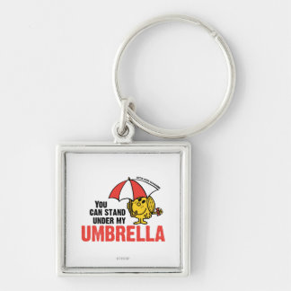 You Can Stand Under My Umbrella Silver-Colored Square Keychain