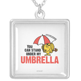 You Can Stand Under My Umbrella Square Pendant Necklace