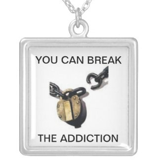 YOU CAN STOP THE ADDICTION SQUARE PENDANT NECKLACE