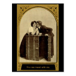 You can travel with me, Romance Vintage Postcard