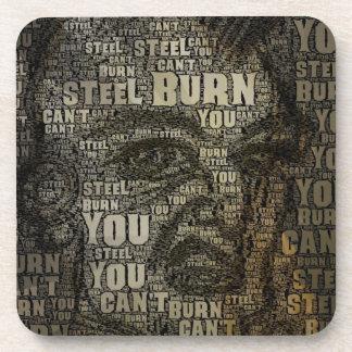 You can't burn steel beverage coasters
