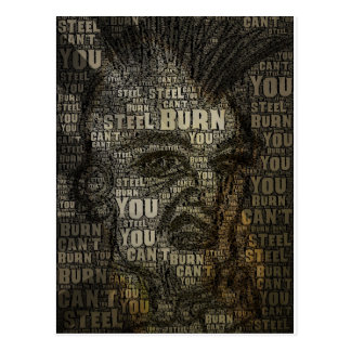 You can't burn steel postcard