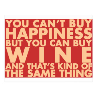 You can't buy happiness, but you can buy wine! postcard