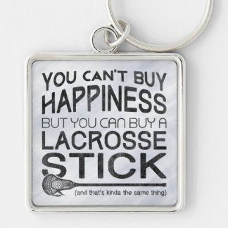 You Can't Buy Happiness, Lacrosse Silver-Colored Square Keychain