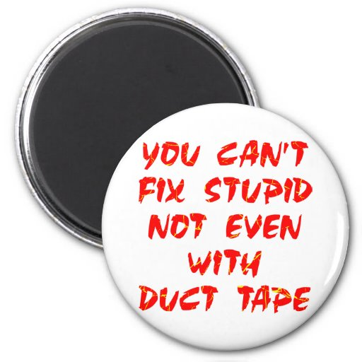 You Can't Fix Stupid Not Even With Duct Tape 2 Inch Round Magnet