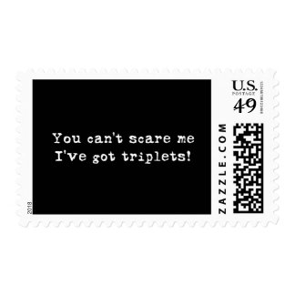 You can't scare me triplets postage stamps