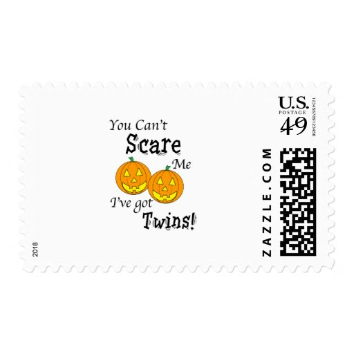 You can't scare me twins - pumpkins postage