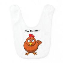 You Chicken? Brown Hen Rooster Cartoon Bib