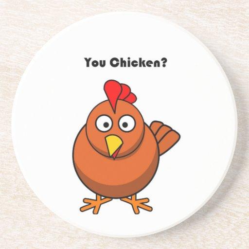 You Chicken? Brown Hen Rooster Cartoon Drink Coasters