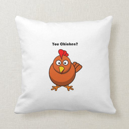 You Chicken? Brown Hen Rooster Cartoon Throw Pillows Zazzle