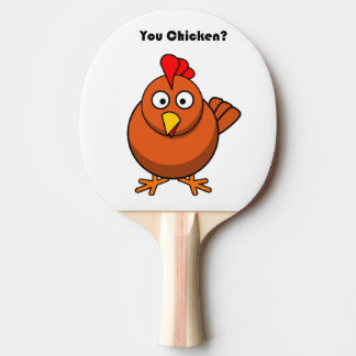 You Chicken? Brown Hen Rooster Cartoon Ping Pong Paddle
