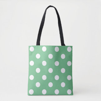 You choose background color and white polka dots tote bag